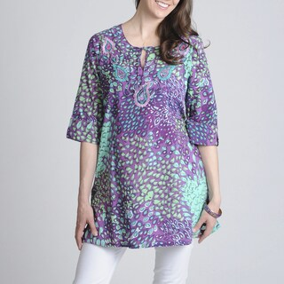 La Cera Women's Printed 'Voile Caftan' Tunic