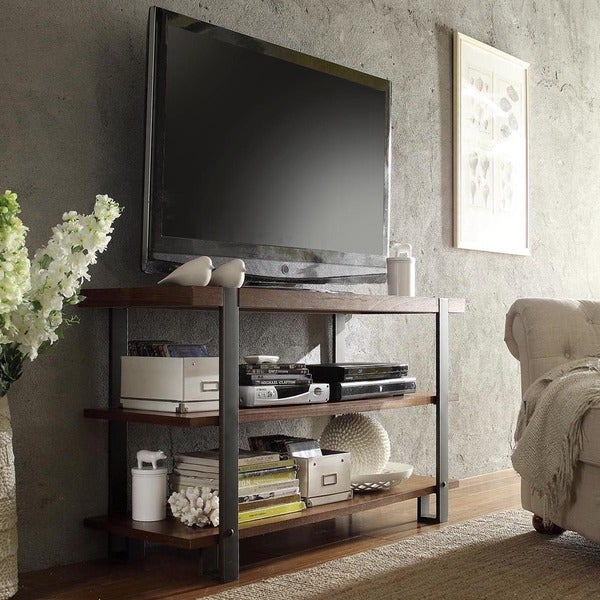 TRIBECCA HOME Lawson Brass and Reclaimed Wood TV Stand