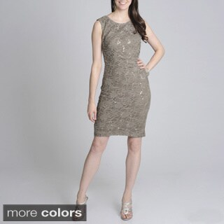R & M Richards Women's Lace Sequin Sheath Dress