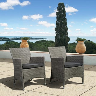 Atlantic Liberty Grey Wicker Deluxe Outdoor Armchairs (Set of 2)