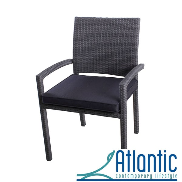 Atlantic liberty wicker grey outdoor stacking arm chair set of 4