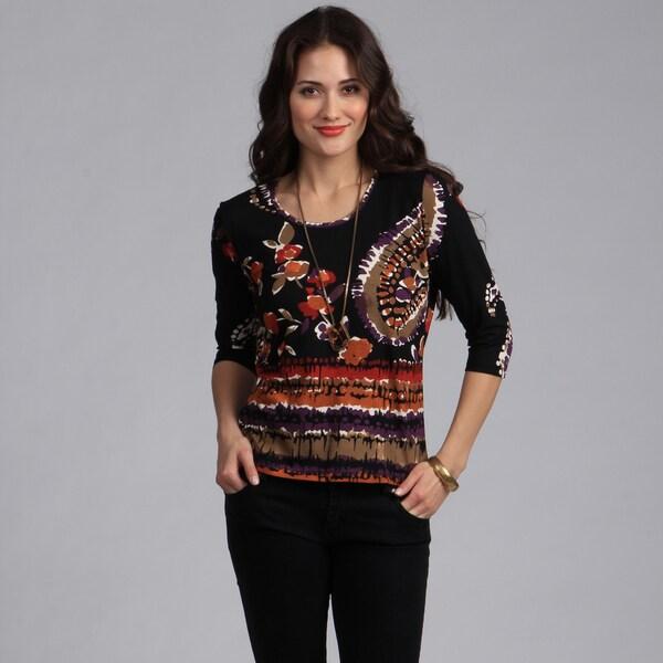 Rochelle Women's Designer Italian Fabric Paisley Print Top