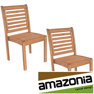 Amzonia Eucalyptus Wood Stackable Side Chairs (Set of 2)