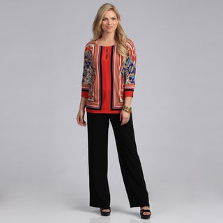 Danny and Nicole Women's Border Print Top and Pant Set