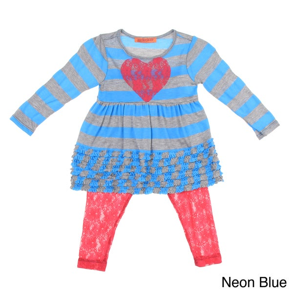Funkyberry Girls Long Sleeve Top and Lace Leggings Set