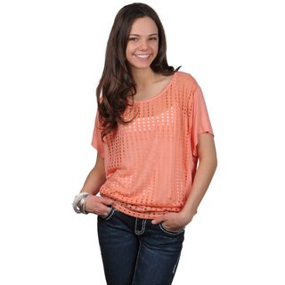 Journee Collection Juniors Scoop Neck Short-sleeve Top