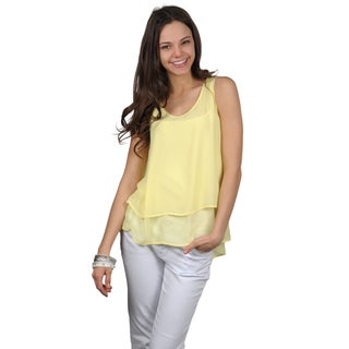 Journee Collection Juniors Sleeveless Scoop Neck Sheer Top