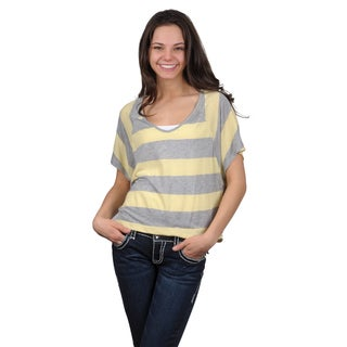Journee Collection Juniors Raglan Sleeve Wide Striped Top