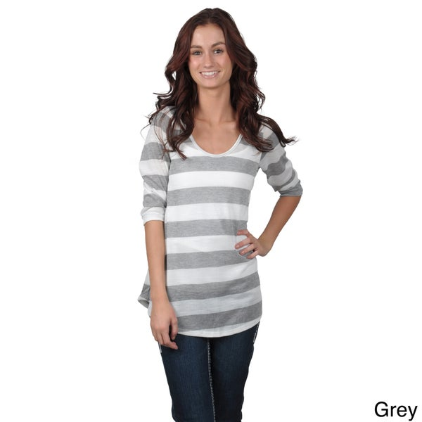 Journee Collection Juniors Striped Scoop Neck Top with Quarter Sleeves