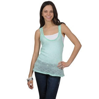 Journee Collection Juniors Scoop Neck Crochet Sleeveless Top