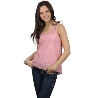 Journee Collection Juniors Sleeveless Scoop Neck Lace Top
