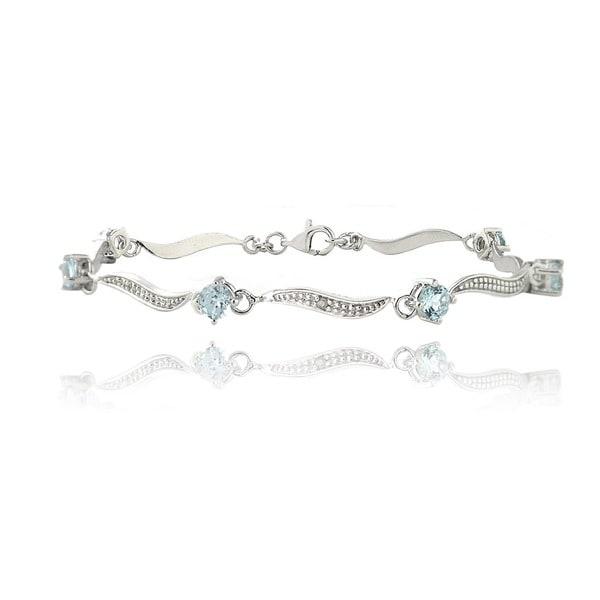 Glitzy Rocks Sterling Silver Multi-gemstone Link Bracelet 14015470