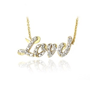 DB Designs 18k Gold over Silver 1/8ct TDW Diamond Love Necklace (I-J, I2-I3)