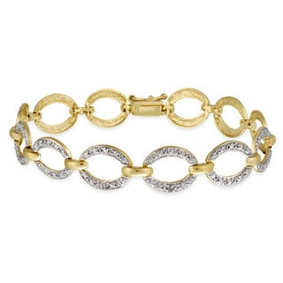 DB Designs 18k Gold over Silver Diamond Accent Oval Link Bracelet