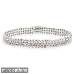 DB Designs Silvertone 1ct TDW 3-row Diamond Bracelet (I-J, I2-I3)