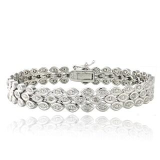 DB Designs Rhodium-plated 1/10ct TDW Diamond 3-row Bracelet (I-J, I2-I3)