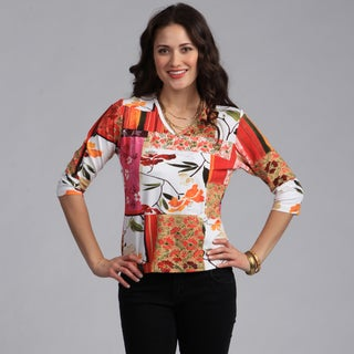 Rochelle Designs Women's Mixed Print Italian Fabric Top