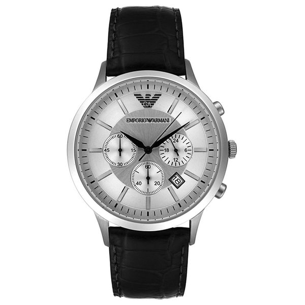 Armani Men's AR2432 Classic Black Leather Chronograph Watch