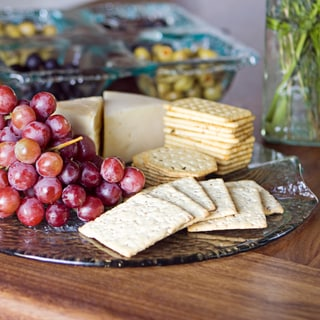 Artisan Recycled Glass Cheese Platter with Built-in Handles