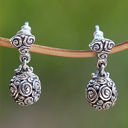 Sterling Silver 'Spiral Spheres' Earrings (Indonesia)