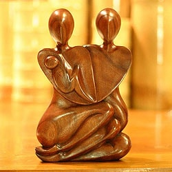 Handcrafted Suar Wood 'Family Peace' Sculpture (Indonesia)