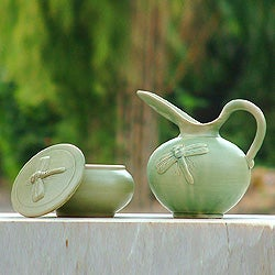 Ceramic 'Dragonfly Fancy' Sugar Bowl and Creamer Set (Indonesia)