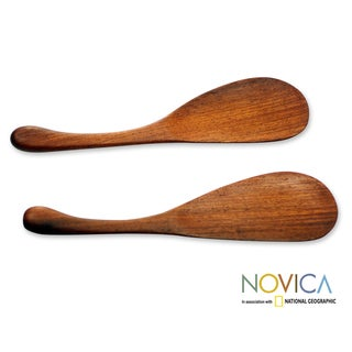 Set of 2 Machinche Wood 'Peten Surprise' Mixing Spatulas (Guatemala)