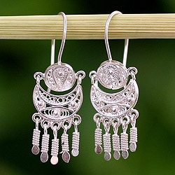 Handcrafted Sterling Silver 'Andean Marinera' Earrings (Peru)