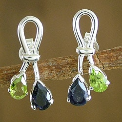 Sterling Silver Earrings 'Promise' Iolite and Peridot (India)