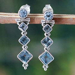 Sterling Silver 'Crystalline Beauty' Blue Topaz Earrings (India)