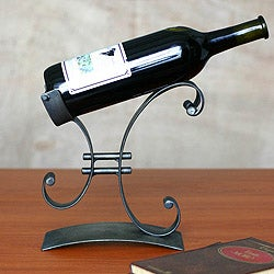 Handcrafted Iron 'Close to You' Wine Bottle Holder (Peru)