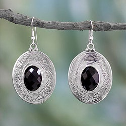 Sterling Silver 'Forest Nights' Onyx Earrings (India)