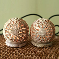 Set of 2 Handcrafted Soapstone 'Flower World' Candleholders (India)