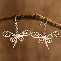 Sterling Silver 'Dragonfly Daze' Earrings (Peru)