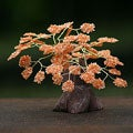 Handcrafted Brass and Gemstone 'Poinciana Tree' Sculpture (Brazil)