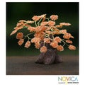 Handcrafted Brass and Gemstone &#39;Poinciana Tree&#39; Sculpture (Brazil)