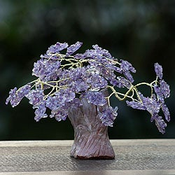 Handcrafted Brass and Gemstone 'Jacaranda Tree' Sculpture (Brazil)