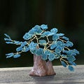 Handcrafted Brass and Gemstone 'Blue Apatite Tree' Sculpture (Brazil)