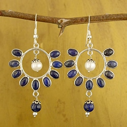 Sterling Silver 'Bouquet' Lapis Lazuli Pearl Earrings (6 mm) (India)