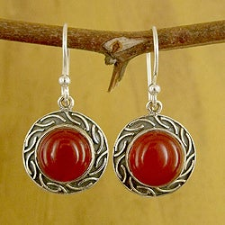 Sterling Silver 'Delicious Elegance' Carnelian Earrings (India)