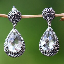 Sterling Silver 'Lime Teardrops' Prasiolite Earrings (Indonesia)