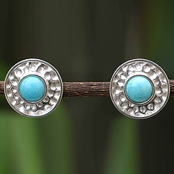 Sterling Silver 'Centered' Amazonite Earrings (Peru)