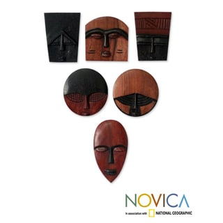 Set of 6 Handcrafted Guarea Wood &#39;African Masks&#39; Ornaments (Ghana)