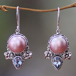 Sterling Silver 'Love' Pearl and Topaz Earrings (13 mm) (Indonesia)
