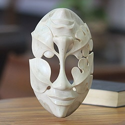 Handcrafted Hibiscus Wood 'Life's Ups and Downs' Mask (Indonesia)