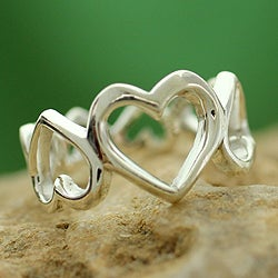 Handcrafted Sterling Silver 'Upside Downside Love' Ring (India)