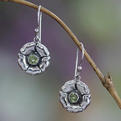 Sterling Silver 'August Poppy' Peridot Earrings (Indonesia)