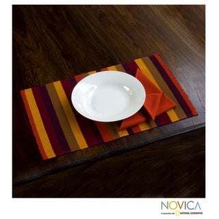 Set of 4 Cotton 'Casaca Fiesta' Placemats and Napkins (Guatemala)