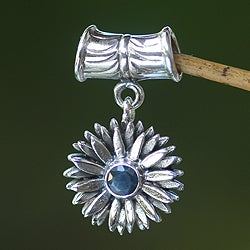 Sterling Silver 'September Aster' Sapphire Pendant (Indonesia)