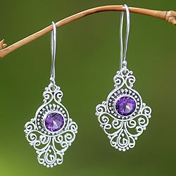 Sterling Silver 'Peacock Aura' Amethyst Earrings (Indonesia)